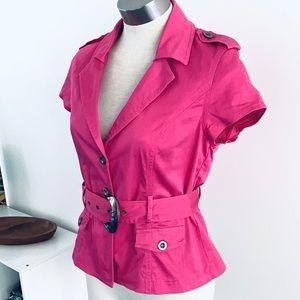 Hot pink Safari jacket with matching Belt size 10-12
